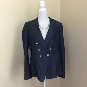 WHBM Chambray Double Breasted Blazer VNT 14 Blue